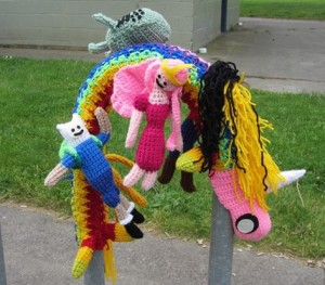 adventure time yarn bombing