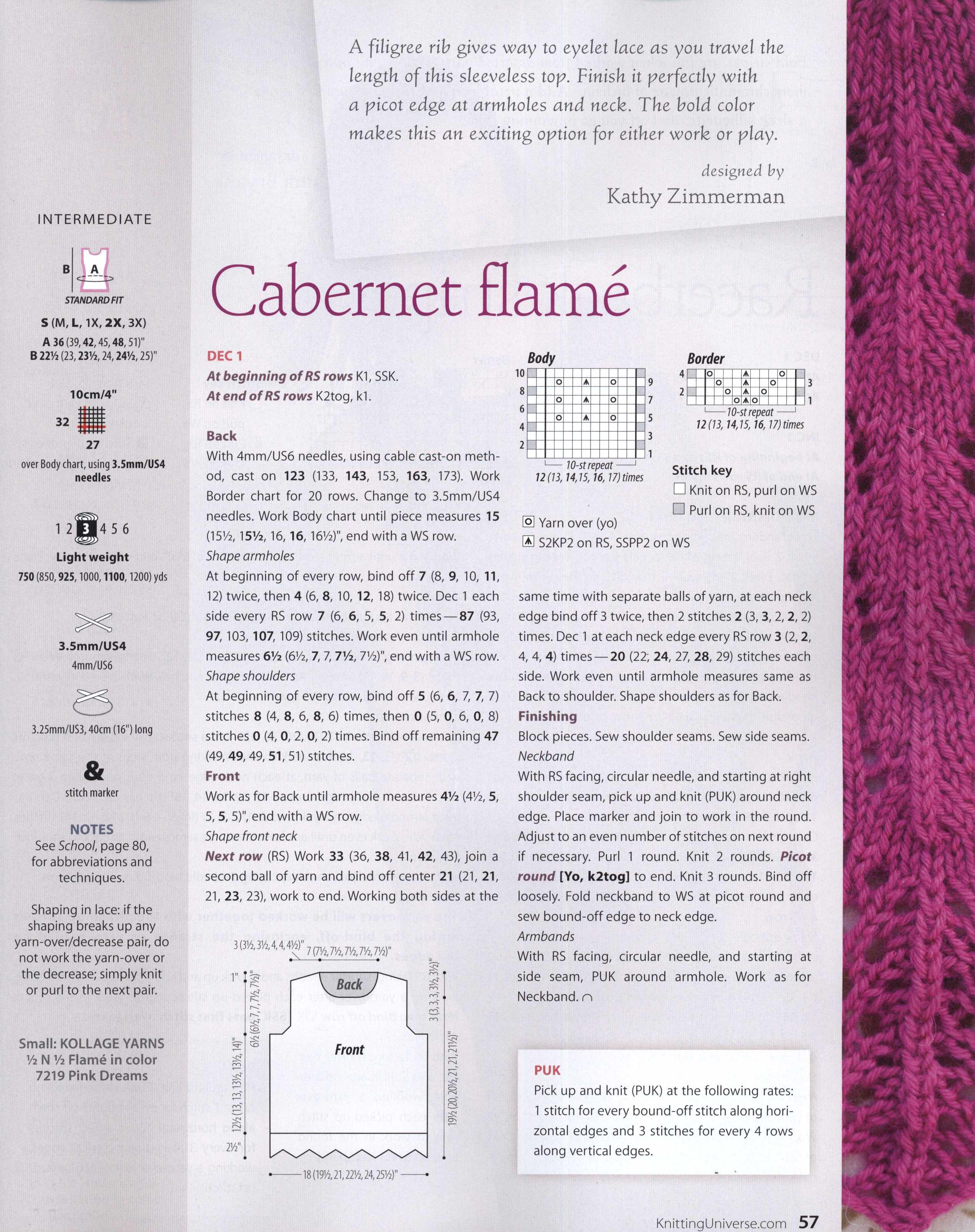 Cabernet Lace Top Knitting ~ Knitting Free