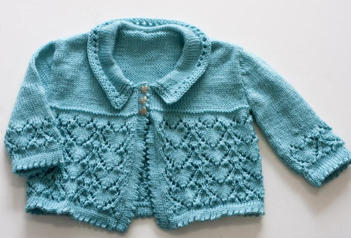 Three Cute Lace Knitted Baby Cardigans Knitting Free