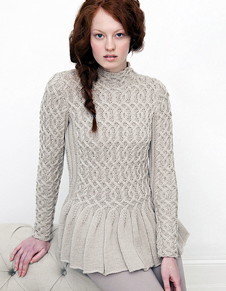 peplum cabled sweater knitting pattern 2