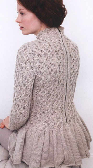peplum cabled sweater knitting pattern