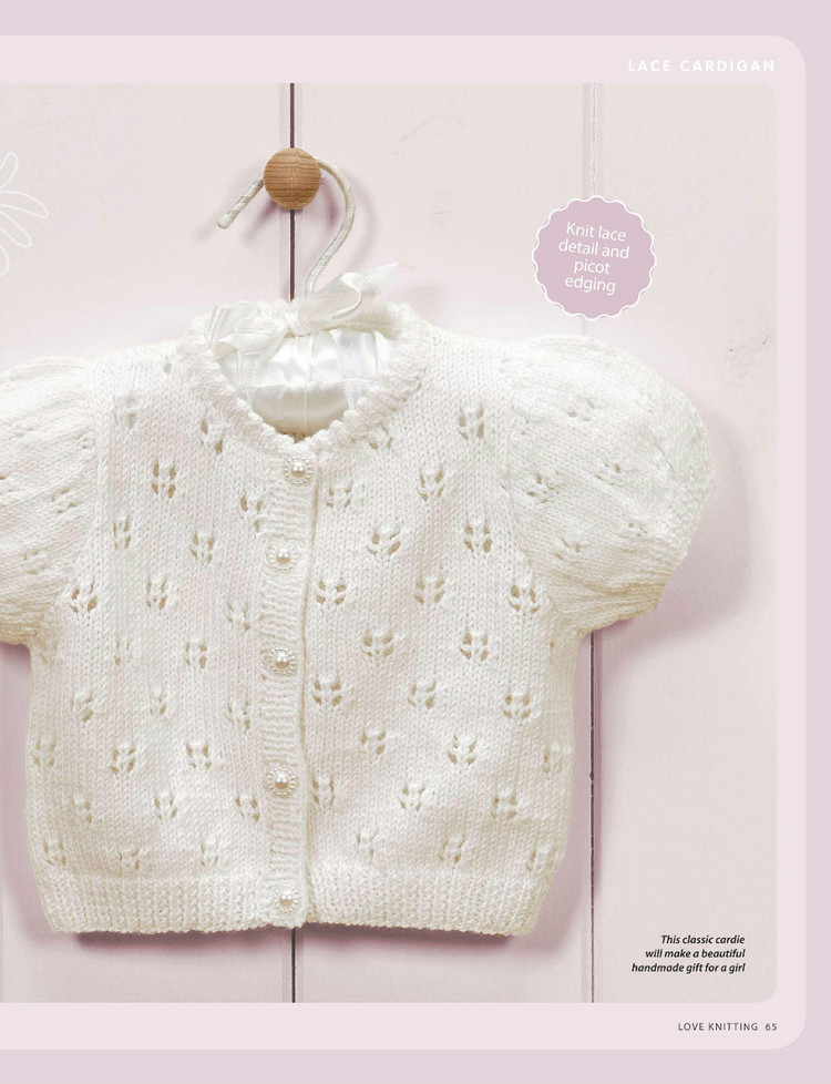Short Sleeved Picot Detailed Baby Cardigan Pattern Knitting Free