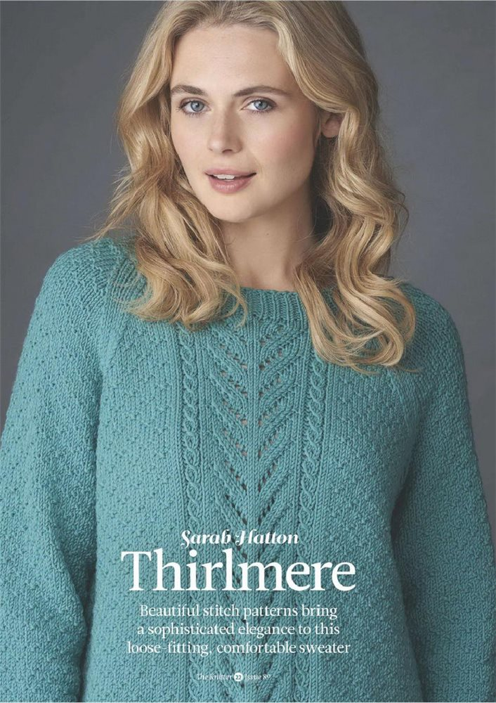 Blue Lace and Textured Knit Pullover
