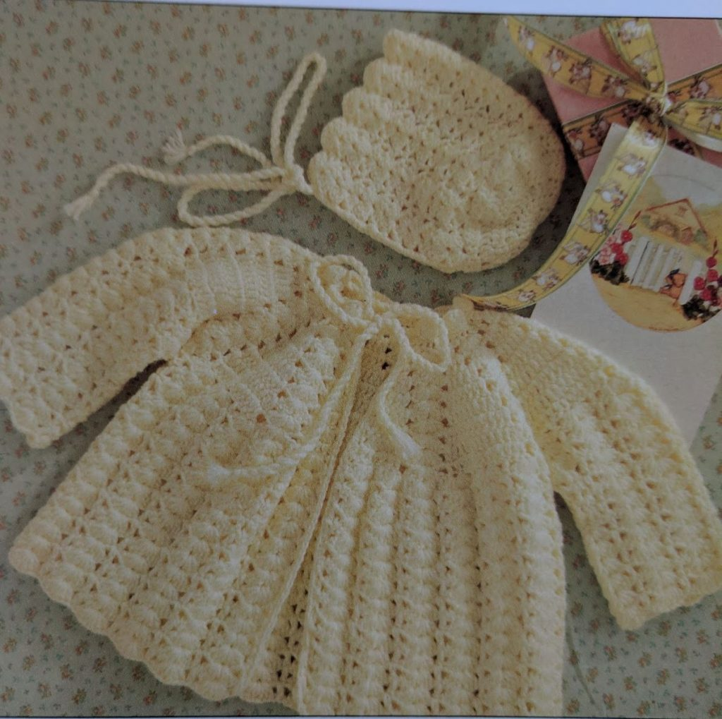 Baby crochet knitting pattern for a jacket and bonnet