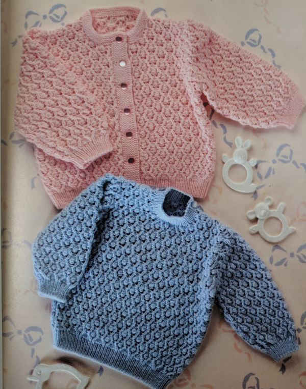 Textured baby cardigan and pullover pattern