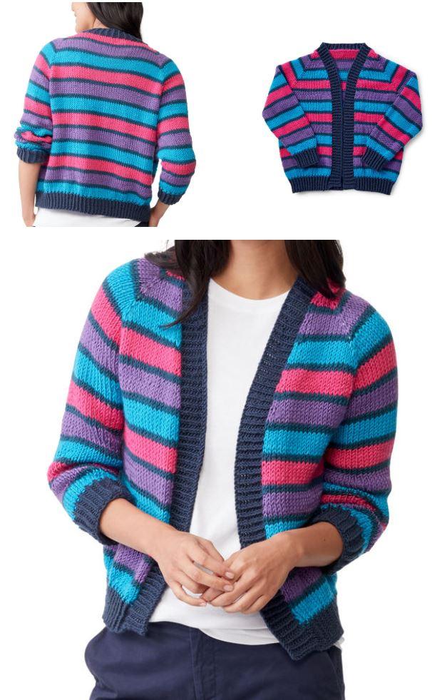 Cropped Cardigan Knitting Patterns raglan and stripes