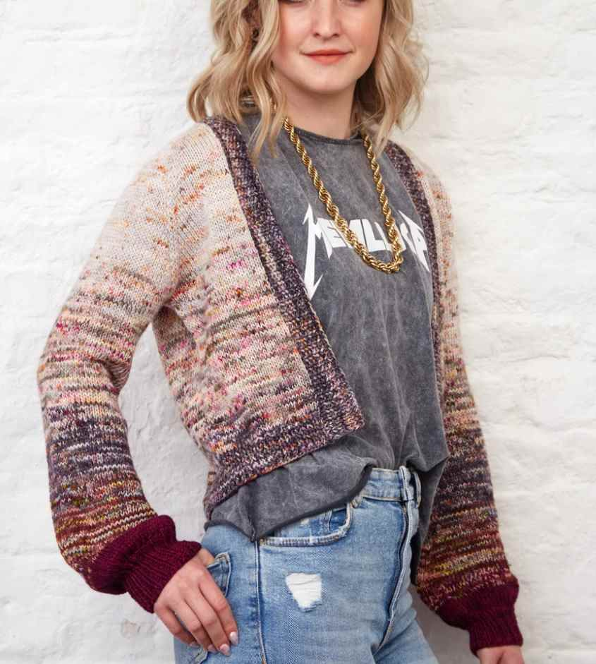 Easy stockinette cropped cardigan free knitting pattern